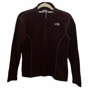 The North Face Girls 1/4 Zip Brown Sweater Size XL